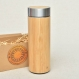 Logo on bamboo wood thermos flask with personalized text image engraved natural wooden fiber stainless steel with screw lid