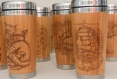 Wood travel mug tiger car or desk coffee to go tea tumbler stainless steel with lid customized engraved bamboo wooden