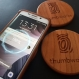 Personalized wireless phone charger qi charging  pad with engraved custom design davinci on cherry wood
