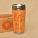 Wood gift travel mug caffeine engraved custom design