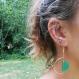 Boucles d'oreilles demi-cercle doré et demi-cercle vert