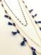 Le bleu nuit: long collier à triple chaine couleur nuit étoilée