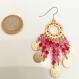 Les danseuses de flamenco : boucles d'oreilles perles rose/rose fuchsia et rouge / or