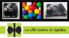 Bouton carré - bonbon argent à pois multicolores