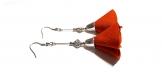 Boucle d'oreille pompon tissue orange rouille, perles en métal, coupelles, crochet en métal acier inoxydable argenté