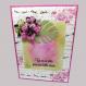 Carte d'anniversaire exotique hibiscus fait main façon scrapbooking,