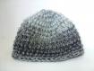 Bonnet / beret laine gris chiné réversible