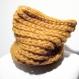 Bonnet réversible en laine safran chiné