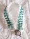 Bracelet au crochet blanc et turquoise