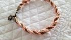 Bracelet kumihimo saumon et bronze