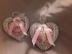 2 coeurs a suspendre romantique shabby
