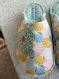 Chaussons mules femme t38-39 dessins modernes, tons pastels