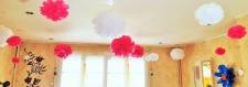 Ensemble de 10 boules décorative à suspendre - boules papier crépon - sphères décoratives - pompoms