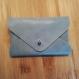 Porte cartes visite cuir de vachette bleu - fabriqué à la main
