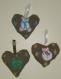 Ddecoration de noel coeur de noel en lin peint a la main a suspendre au sapin