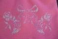 Pochette fleurie brodée au point de croix rose et blanche