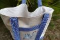 Sac cabas brodé bleu et beige, sac de plage