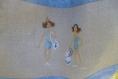 Sac de plage brodé bleu