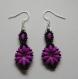 Boucles d'oreilles en perles violet fluo et noir mat