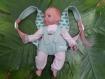 J'emmène ma poupée partout ! porte-bébé en jean et liberty