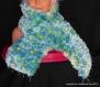 Echarpe tricotée en laine chinée bleu/vert