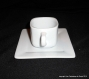 Vaisselle peinte motif moutons : 2 assiettes et 1 tasse avec sous-tasse