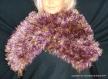 Echarpe élégante tricotée en laine chinée violet/dorée