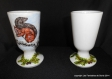 Service cafetière et 2 mazagrans en porcelaine peints à la main