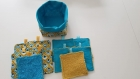 Panier et lingettes réutilisables - thème jaune et bleu
