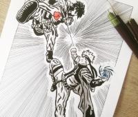 Peinture manga - naruto vs sasuke