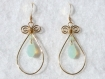 Boucles d'oreilles swarovski plaqué or gouttes et toupies chrysolite opal