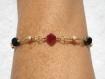 Bracelet swarovski plaqué or rouge et noir reflet bronze