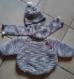 Poncho et bonnet  écharpe   12-18 mois.