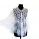 ÉlÉgante chÂle de tricot tricotÉ main. chale pour la mariÉ coloris blanc