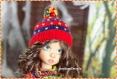 Tunique a torsades + manches amovibles + leggings + bonnet a pompon pour poupÉe bjd kaye wiggs