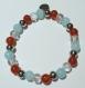 Bracelet en perles naturelles 6 mm : pierre de mer bleue, cristal de roche, agate rouge