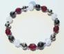 Bracelet en perles naturelles 6 mm : cristal de roche craquelé, hématite et verre de bohèmes rubis grenat à facettes