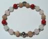 Bracelet en perles naturelles 6 mm : corail, pierre de soleil, jade blanc, quartz rose