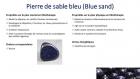 Bracelet en perles naturelles 6 mm : pierre de sable bleu, lapis lazuli et calcédoine (agate bleue)