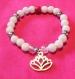 Bracelet en perles naturelles 6 mm : pierre de lave blanche, cristal et corail