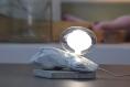 Lampe en bois flotté blanc