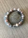 Bracelet en  rhodonite, perles de 8 mm