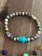 Bracelet jaspe paysage et tortue turquoise