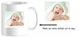 Mug en céramique personnalisable avec la photo de votre bébé/enfant, idée cadeau
