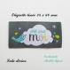 Etiquette tissée  - créé pour moi -  28 x 60 mm, grise nuage oiseau