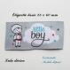 Etiquette tissée  - little boy -  28 x 60 mm, grise nuage petit garçon