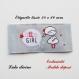 Etiquette tissée  - little girl -  28 x 60 mm, grise bulle petite fille