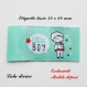 Etiquette tissée  - little boy -  28 x 60 mm, verte bulle petit garçon