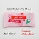 Etiquette tissée  - fait avec amour -  28 x 60 mm, rose cœur