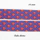 Ruban gros grain bleu super héros, mini logo superman de 16 mm vendu au mètre
